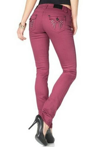 ARIZONA Röhren Jeans 21 Stretch Denim Patten 42 L30 Strass Steine Mauve Edel NEU