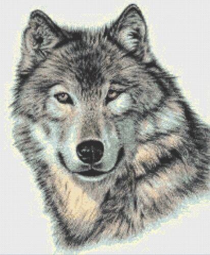 GREY WOLF # 5-contato cross stitch chart