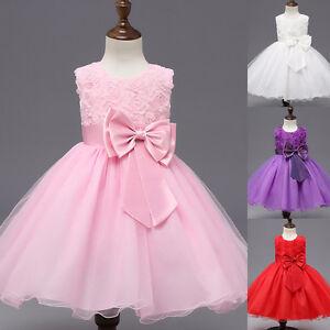 Fest kleid Kinder Abend Hochzeit Blumen Mädchen Kommunion Prinzessin Tüllkleid