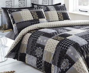 Black And Gold Remi Floral Damask Patchwork Superking Size Duvet Cover Set