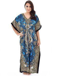 5e5bcb0416a New Women Kaftan Caftan Maxi Dress Blue African Dashiki Hippie Boho ...