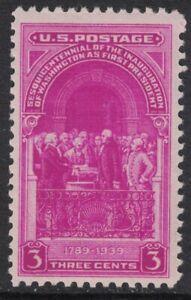 Scott-854-Inauguration-de-George-Washington-MNH-3c-1939-sin-Usar-Nuevo-Stamp