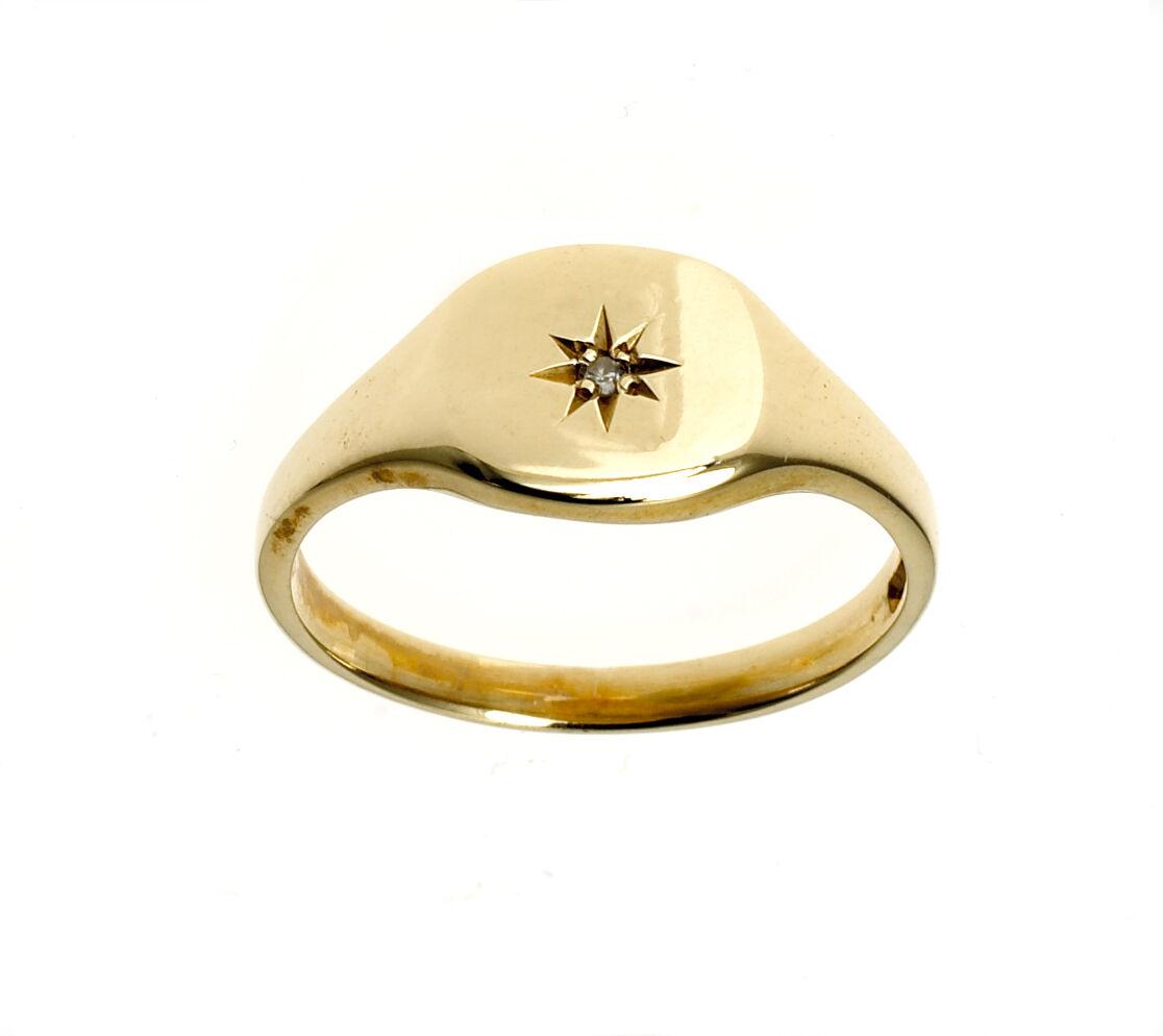 Diamond Signet Ring Solid Yellow gold Cushion Signet Ring Ladies Ring size F - V