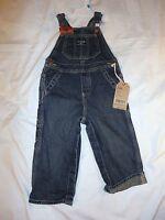 Boys Oshkosh Latzhose Blue Overall Conductor Bib Jeans 6m 24m 3t Farmer