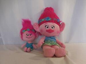 "DreamWorks Trolls Poppy Talkin' 14"" Troll Plush Doll + 24"" Pink Poppy Plush"