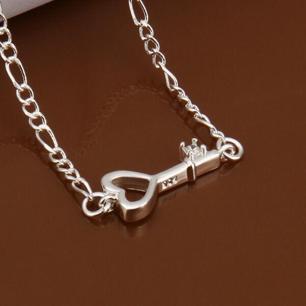 925Sterling Silver Jewelry Zircon Hollow Heart Key Women Anklet Bracelet AY024