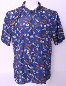 San Diego Padres MLB Blue BDA Button Up Collared Hawaiian Shirt Men's XL