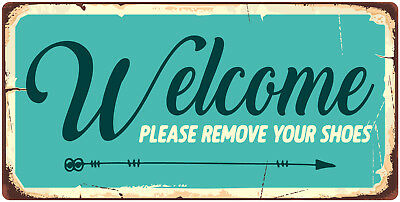 """1002HS Please Remove Your Shoes 5/""""x10/"""" Aluminum Hanging Novelty Sign"""