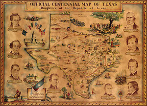 Map Of Texas Revolution.Vintage Pictorial Centennial Map Of Texas Revolution Historic Wall