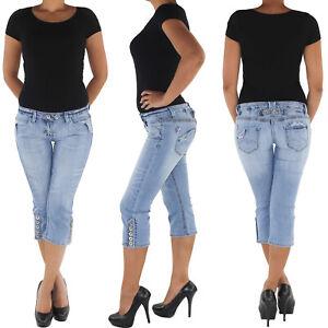 Damen-Capri-3-4-Jeans-Shorts-Bemuda-Kurze-Hueft-Stretch-Hose-8772