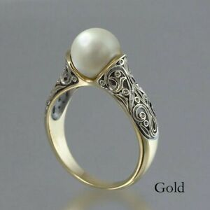 Round Pearl Gold Plated Silver Ring -Adjustable Ring Pearl Jewelry  -6mm Pearl 8mm Pearl- Sterling Silver Ring Boho White Pearl Ring