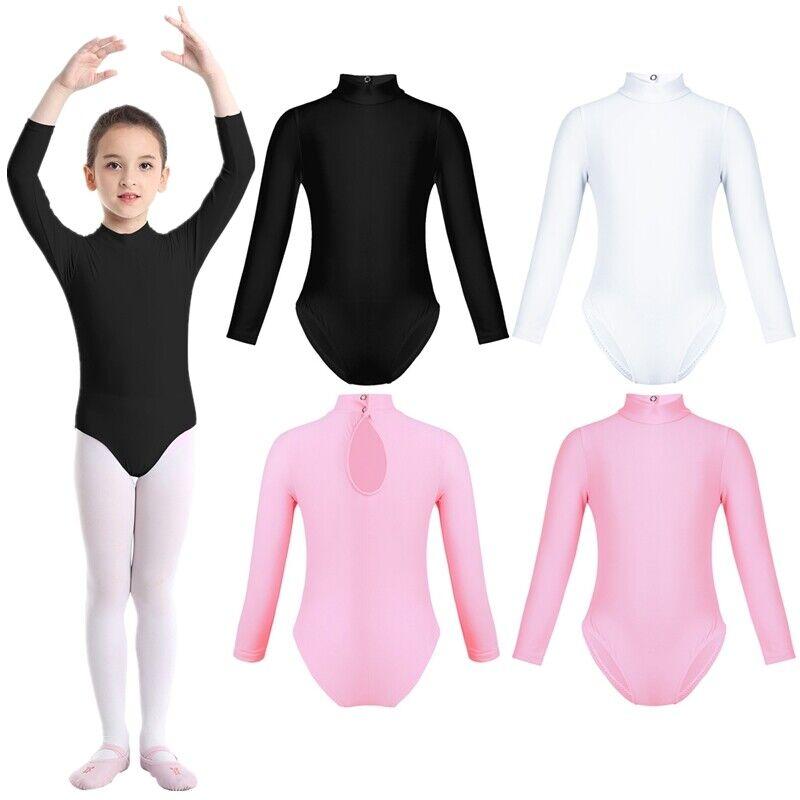 Girls Kid Gymnastics Leotards Long Sleeved Mock Neck Dance Gymnastics Uniform