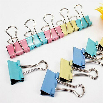 60PCS Office Study Family Tools Paper Color Long Tail Clip Stationery Folder