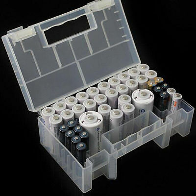 Large Hard Plastic Portable AAA AA C Battery Case Holder Storage Box With Handle
