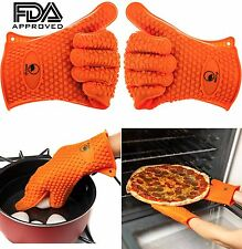 2 BBQ Gloves - Heat Resistant Kitchen Cooking Oven Mitt Silicone Potholder (USA)