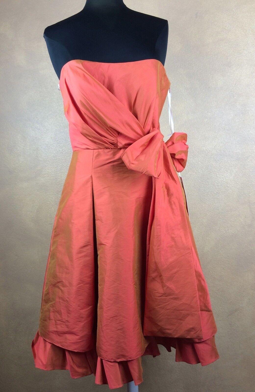 JIM HJELM OCCASIONS Orange w Grün Taffeta Dress Prom Bridesmaid 12 Retail