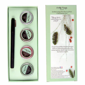 Heat-Embossing-Powder-Glitter-Set-Kit-Gold-Green-Red-White-amp-Dual-Embossing-Pen