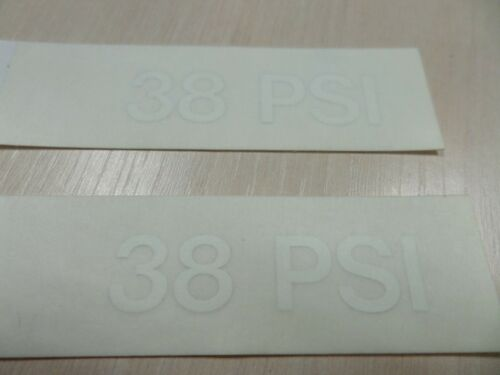 2 White /'38/' PSI Tyre Pressure Vinyl Decal 12.5mm Cap Height *FREE POSTAGE*