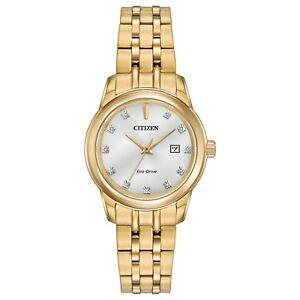 Citizen-Eco-Drive-Women-039-s-Diamond-Collection-Gold-Tone-28mm-Watch-EW2392-54A