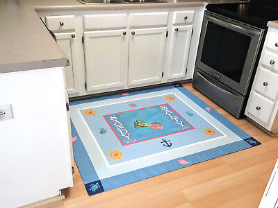 CUSTOM SURFBOARD BEACH RUG MAT SANDY TOES AND SALTY KISSES IN LOVE FISHES