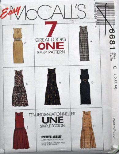 McCalls Sewing Pattern # 6681 Misses Jumper w// Neckline Variations Choose Size