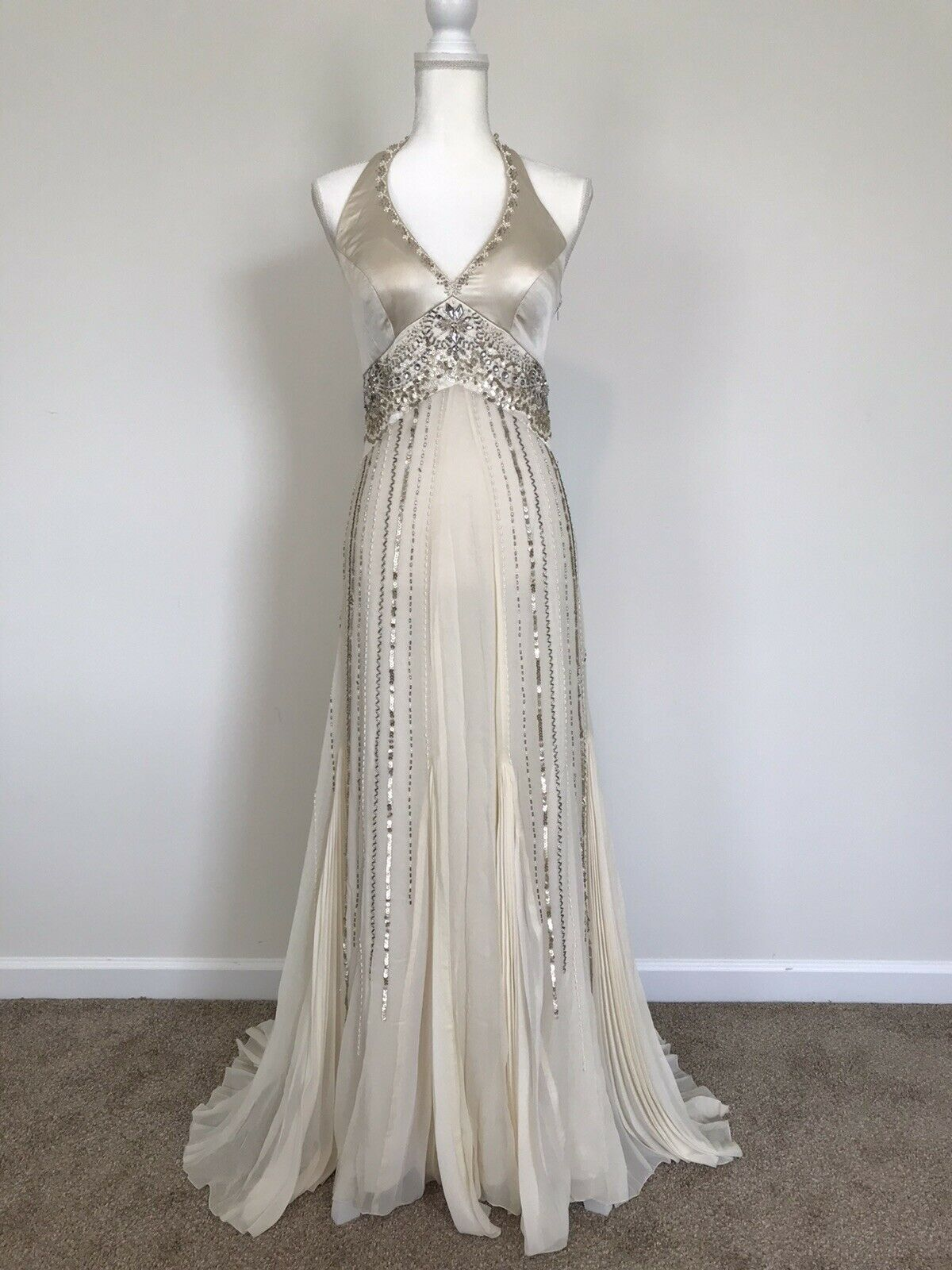 Sue Wong Ivory/Gold/Platinum Silk Halter Hand-beaded Gown & Shawl Size 6 NWT