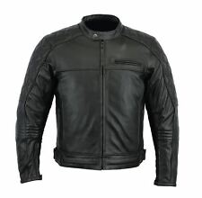 Rksports 1586 Mens Fashion Leather Motorcycle motorbike Black Jacket with Armour