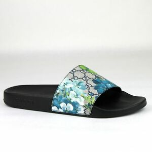 327d18d81bf0 Gucci Men s Supreme GG Canvas Bloom Print Blue Flower Slide Sandals ...