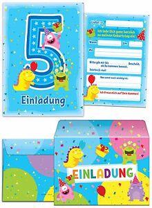 Einladungskarten Mit Umschlägen Zum 5 Geburtstag Junge Mädchen Blau