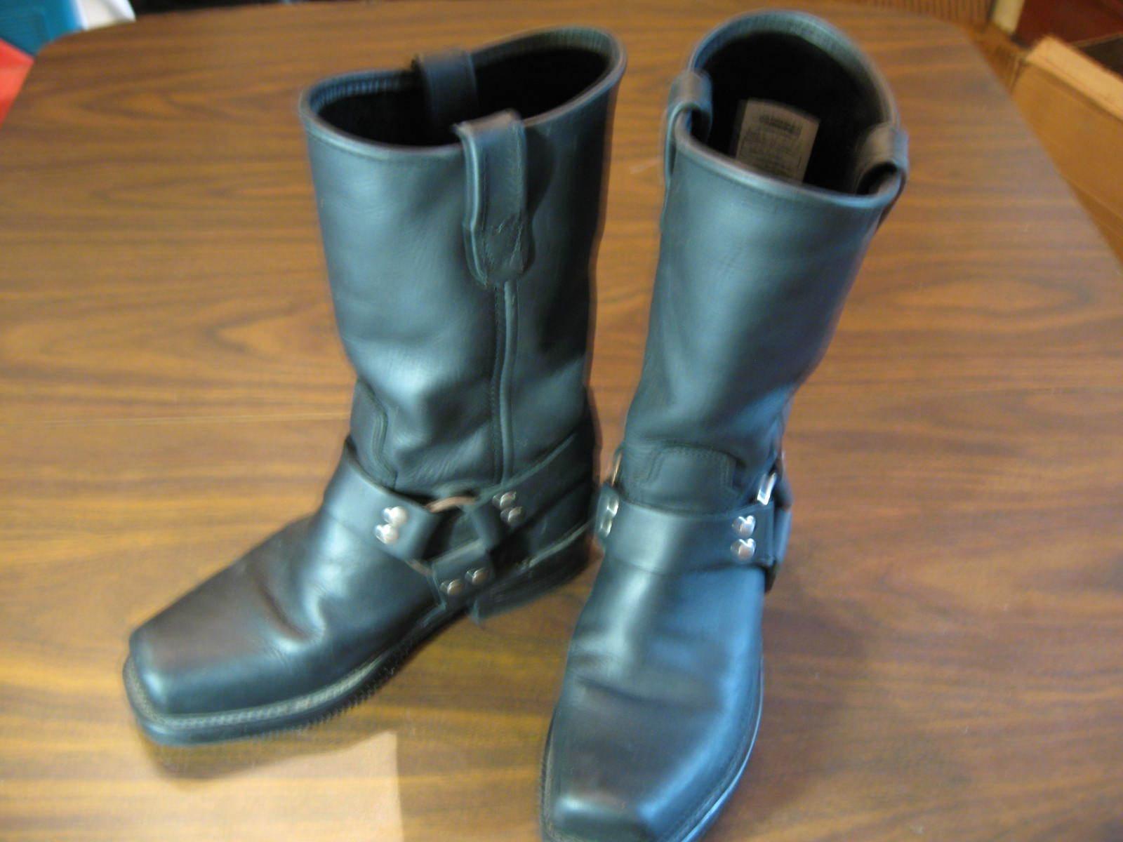 DOUBLE-H SIERRA Black Leather Motorcycle Cowboy Western Work Boots Size Men 7 D