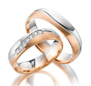 c72d9e8d3b6b Detalles de 2 x 585 Anillos De Boda En Oro Blanco Oro Rosa Precio del Par  14k Oro Genuino