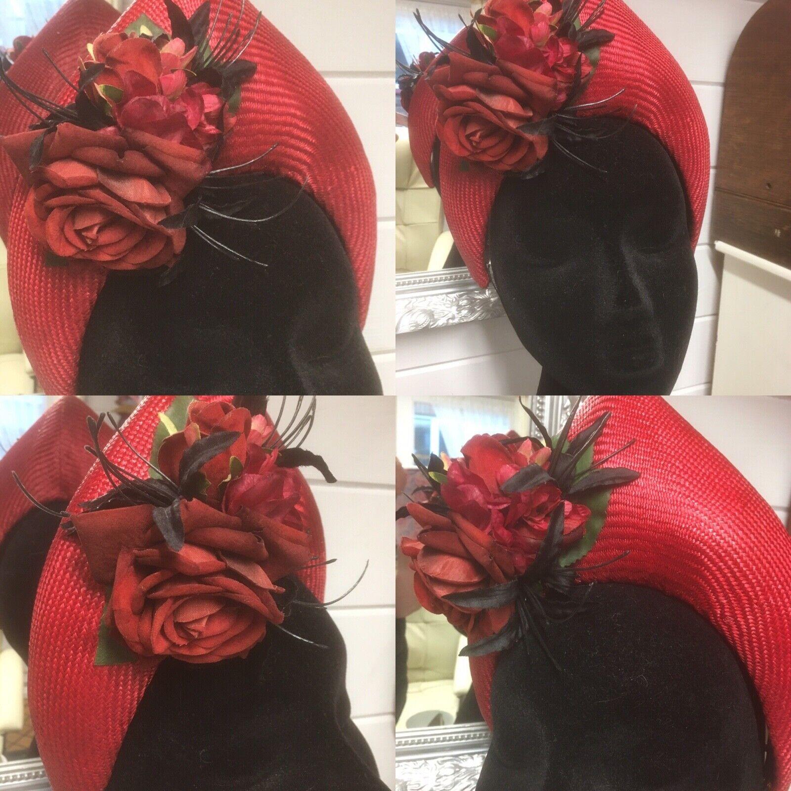 Red Tudor Style Bandeau/Halo Parisisal Straw Head Band