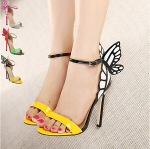 300ede5c2abb Image is loading Women-High-Heels-Stiletto-Shoes-Butterfly-Heeled-Sandals-