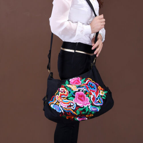 Tote Women Embroidered Floral Handbag Purse Shoulder Messenger Bag Causal