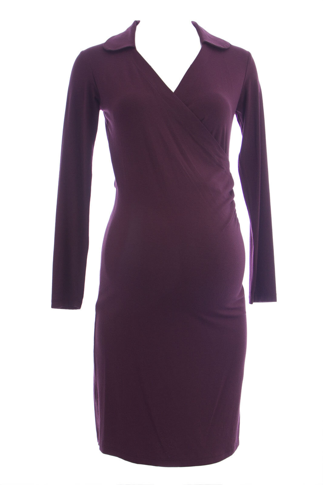 OLIAN Maternity Women's Sangria Faux Wrap Long Sleeve Collared Dress XS NEW