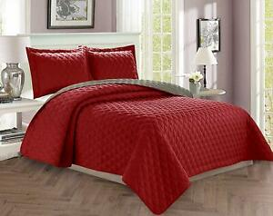 3-Piece-Quilt-Set-Reversible-Luxurious-Quality-Diamond-Design-Bedspread-Coverlet
