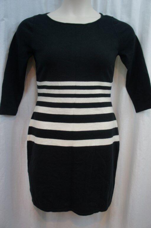 Ralph Lauren Dress Petite Sz PM schwarz Weiß Cotton Sweater Dress Casual Career