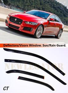 Window Side Visors Sun Rain Guard Vent Deflectors For Jaguar XE Sd 2015