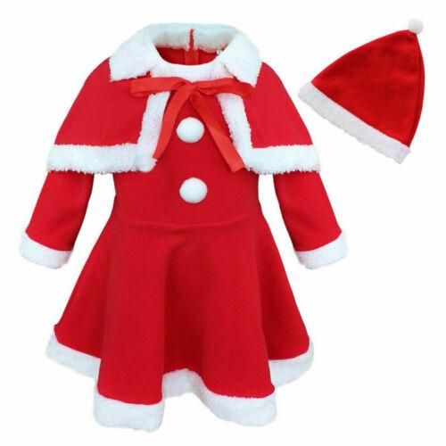 Baby Mädchen Weihnachtskostüm Warm Fleece Weihnachten Kleid Cape mit Mütze Set