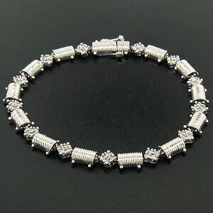 14K-White-Gold-7-25-034-1-30ctw-Round-Diamond-Cluster-amp-Ribbed-Link-Tennis-Bracelet