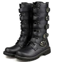 Mens Lace Up Punk Rock Goth Band Buckle Zip Boots Motercycle Black Riding Shoes