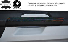 ORANGE STITCH 2X DOOR HANDLE TRIM LEATHER COVERS FITS VW T6 TRANSPORTER 15-17