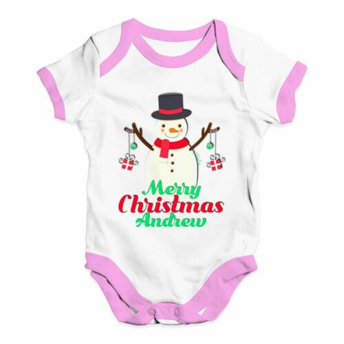 Personalised Merry Christmas Snowman Baubles Baby Funny Baby Grow Bodysuit