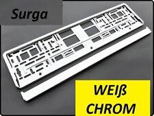 EU KFZ 2 x Kennzeichenhalter CHROME Weiß 520x110mm Halterung