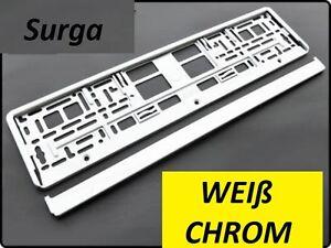 2Stk-Chrom-Weiss-Kennzeichenhalter-Nummernschildhalter-Kennzeichenverstaerker