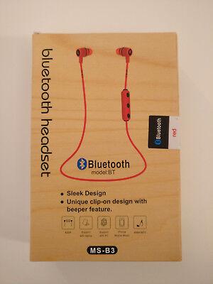 Wireless B3 Auricolari Cuffie Stereo Bluetooth MS Rosso 0nnqPw