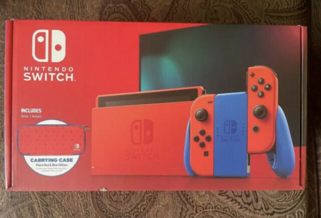 Nintendo Switch Mario Red & Blue Edition Console w/ Case - NEW