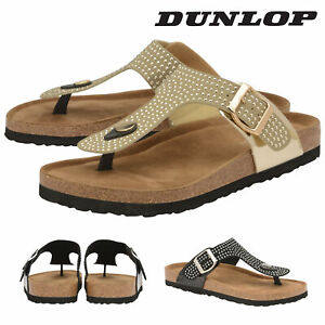 Dunlop-Ladies-Womens-Slip-On-Toe-Post-Sandals-Padded-Insock-Shoes-Sizes-3-8