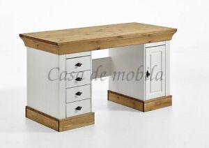Massivholz Schreibtisch Kiefer Massiv 2 Farbig Weiß Gelaugt Geölt