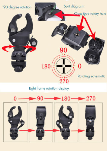 US FAST 90° Rotation Bicycle Mount Holder Bracket Flashlight Torch Clip Clamp